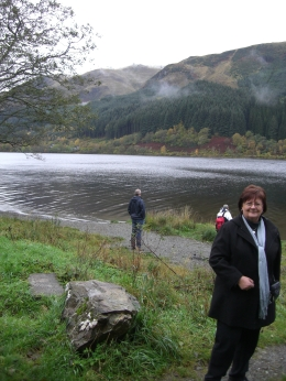Dawn Duncan also just stretched her legs. Mike in background at lake's edge., Dawn D - November 2010