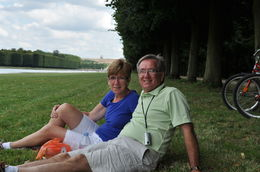 Veronica and George of CT. USA enjoying a rest after a wonderful lunch and riding around the grounds of Versailles. Great time and probably one of the highlights of our trip to Paris. , Gabby - August 2013