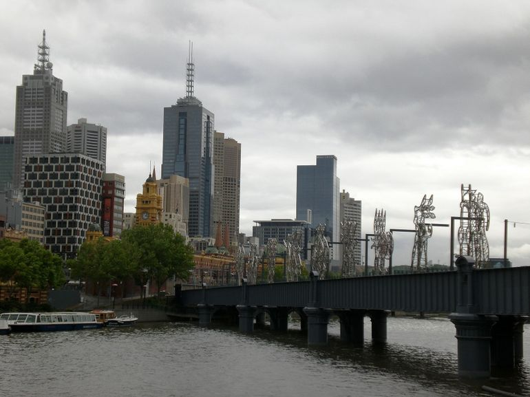 Looking Across the Yarra River to Melbourne City Skyline - Melbourne