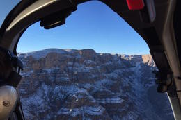 View from side window of the EC helicopter - snow on the GC in Jan 2015 , Kate M - January 2015