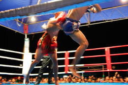 Ultimate real fighting match (Thai kickboxing). Shows flying kick technique (jumping roundhouse-kick). - June 2011