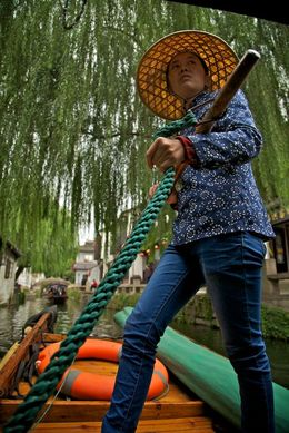 Photo of Shanghai Suzhou and Zhouzhuang Water Village Day Trip from Shanghai My Gondola Driver in Zhouzhuang Water Village
