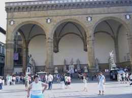 The Piazza Signoria is on the north side of the Uffizi Gallery where numerous statues are displayed. A must see., Virginia R - July 2009