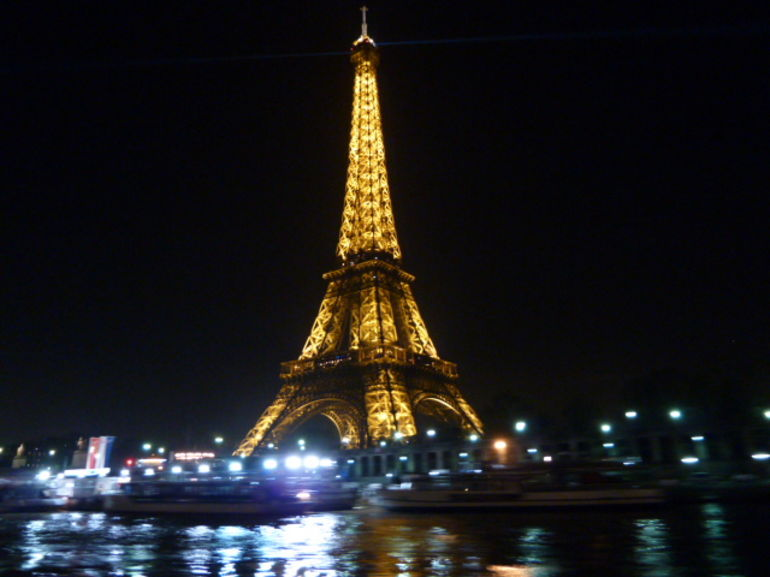 The Eiffel Tower from the Seine river cruise 25 Dec 2010 - Paris