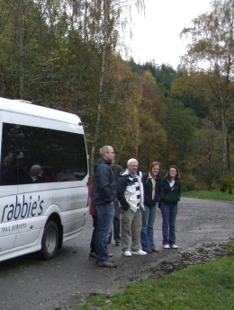Mike (the driver) explains to passengers that this wee stop is just to look at the lake., Dawn D - November 2010