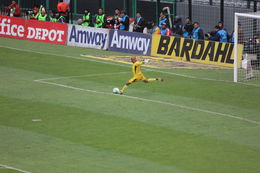 Photo of Mexico City Mexico City Soccer Match at Azteca Stadium Goalie
