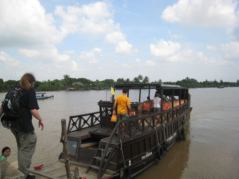 Going up on our boat - Ho Chi Minh City