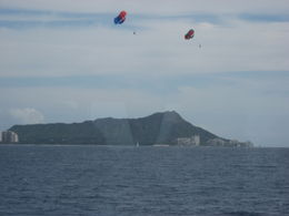 People parasailing with Diamond Head in the background., Bandit - February 2011