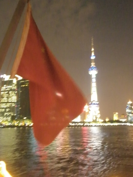 Flying red flag captures the dynamics of the exciting city of Shanghai at night, Jane S - November 2010