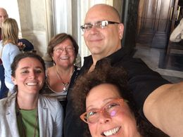 The tour guide, my husband, Nat, myself and Nat's cousin, JoAnne ready to explore the Vatican museums, the Sistine Chapel and everything in between. , Melanie P - April 2015