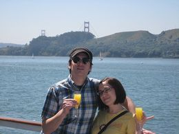 Enjoying the views of the bay and our mimosas. - April 2008