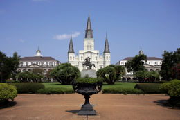 Saint Louis Cathedral stands past a cast iron planter in New Orleans' Jackson Square - May 2011