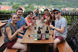 Tasting wine at our second winery overlooking the Danube River. , Melanie C - May 2014