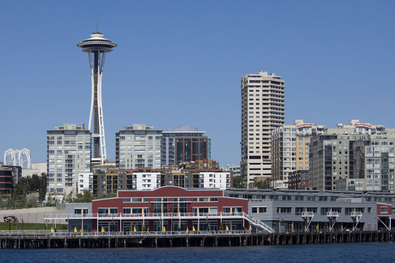 Skyline of downtown Seattle with Space Needle, taken from the waterfront