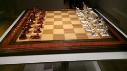 This is a Nazi chess set taken in the Rijksmuseum. On the borders there is inscriptions of the countries they conquered. , Fuad A - October 2014
