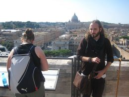 Nearly the end of the tour now, on the roof of the Castello Sant Angello with St Peters in the background., Susan R - October 2009
