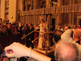 This is how close we were to the Pope after following the tour guide's advice to attempt to get in the Basilica--amazing. , Ann Marie G - November 2011