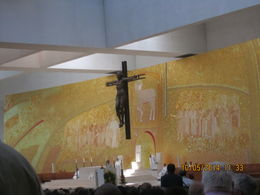 Church service taking place Saturday 11 May before festival on 13 May. The picture behind the alter is made of gold leaf and designed by a German guy , Patsi Ann - May 2014