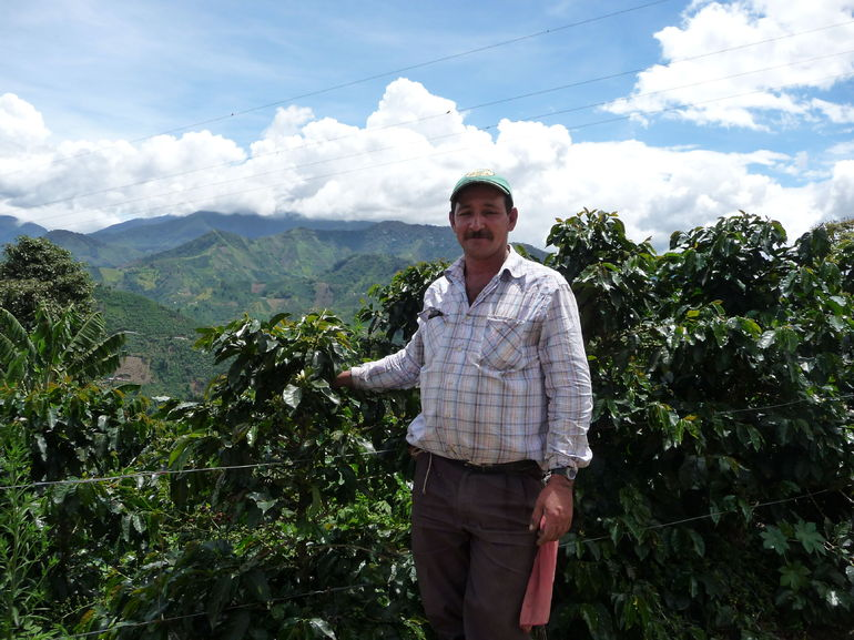 The coffee grower, Alonso explaining coffee production with the magnificent view in the background.
