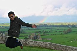 Our son jumping at the Rock of Cashel , JumpingNorman - May 2014