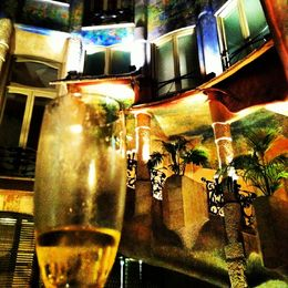 A glass of Cava being enjoyed in La Pedrera at the end of the tour , Mans C - June 2013
