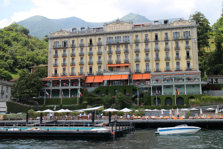 Grand Hotel Tremezzo  and  Lake Como - view from boat - Milan