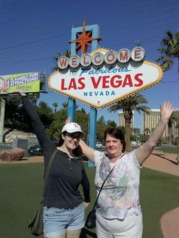 Stopping to take pictures by the historic Las Vegas sign! , Anne H - March 2014
