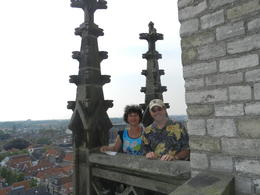 Pam and Jay at the top of the bell tower in Delft's Niew Kirk...great view! , Pamela P - August 2014