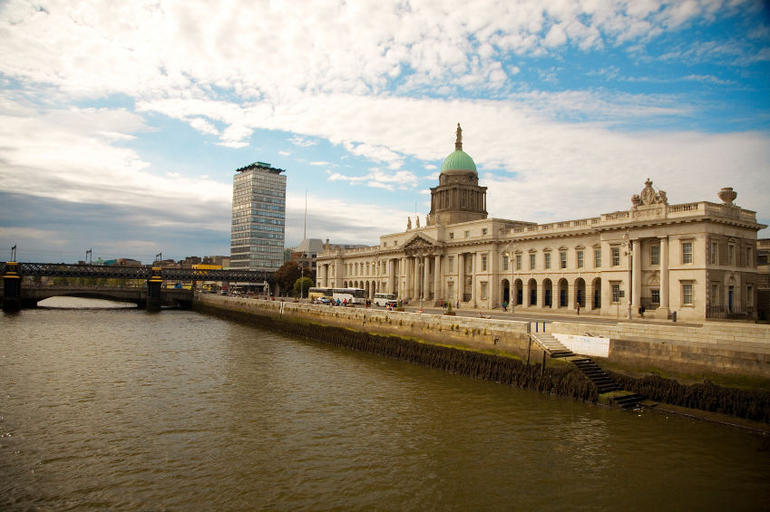 A view looking across the River Liffey at the Custom House, Dublin, Ireland