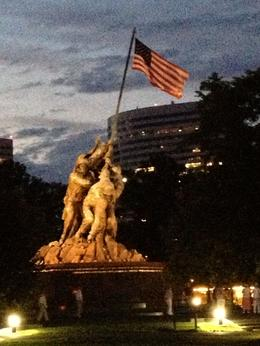 Taken with my i-phone as we left the Iwo Jima Memorial after we had gotten off and walked around. Another tourist behind me on the trolley saw my picture over my shoulder and asked me to text it to ... , Rosemarie F - July 2013