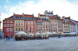 Bars and restaurants line the colouful square in Warsaw's reconstructed old town. , David Lally - October 2015
