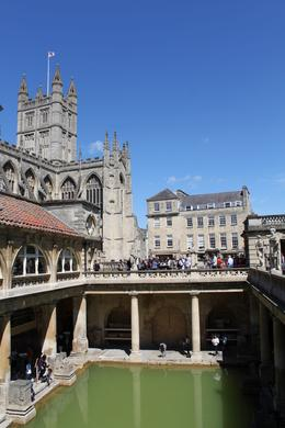 Photo taken inside the Roman Baths Museum. Bath Abbey peeking overhead in the background., Kristen D - June 2010