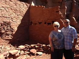 My husband of 48 years and myself with the Sinagua dwelling walls that are slowly being eroded away with time and vandalism. It is a real shame that people don't respect such historic sights for ... , Suzanne M - October 2013
