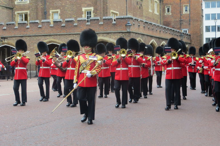The guards on the way to Buckingham Palace