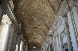 This ceiling is over an outdoor hallway leading to the basilica. , EhViator - September 2015