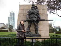 At the Shrine of remembrance. I appreciated the staff there who offered a service every 30 minutes I think. It was a fitting tribute to the fallen in the Wars. A kind fellow traveller took my photo ... , Noeline D - August 2012