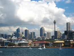 Nice view of the Sydney Tower on cruise in Sydney Harbour - March 2010