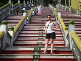 We've just started to climb the 272 steps at Batu Caves . This is my daughter Kacey on step16 and our cousin Suzanne on step 50...., Leiza - December 2008