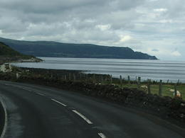 Landscape as seen from front of motor coach on drive to Giant's Causeway. , Douglas S - August 2011