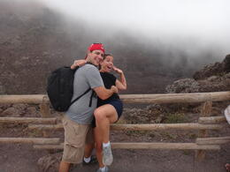My wife, Kerry and myself, Jim... jokingly acting like she's being thrown into the volcano. , James M - September 2013