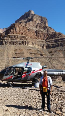 This is a photo of me taken after we landed inside of the Grand Canyon. , Chris W - October 2014