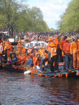 Photo of   Queensday Canal Traffic Jam Amsterdam