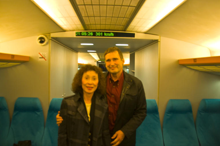 Speeding along in the maglev - Shanghai