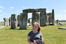 One area of Stonehenge is roped off much closer to the stones so it allows you to get some better photographs. This is a photo of myself that my husband took. The sun came out and it was beautiful!, Kristen D - June 2010