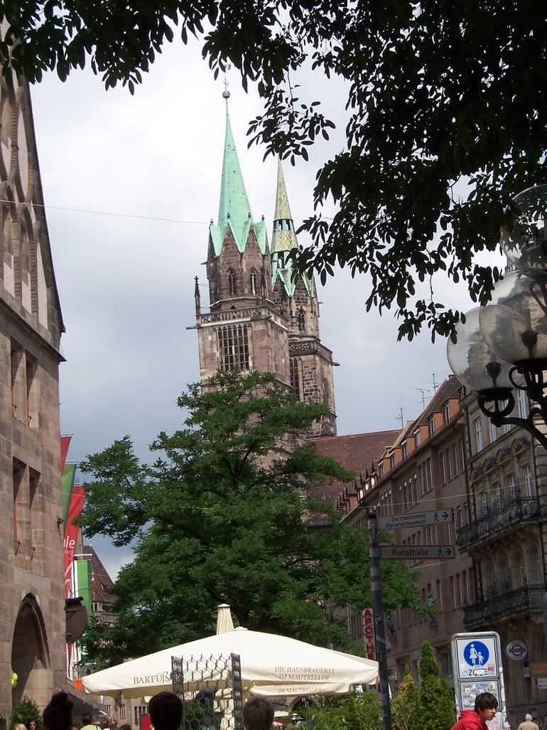 Church spires from main street - Germany