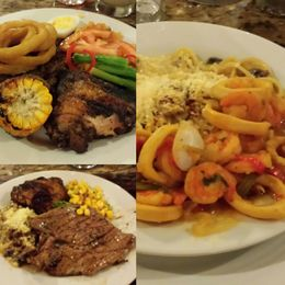 Chef staffed Buffet with fresh pasta station and Grill Master - steak, pork lion, corn, chicken - salads and desert bar and fixin's galore , Haynes M - June 2016