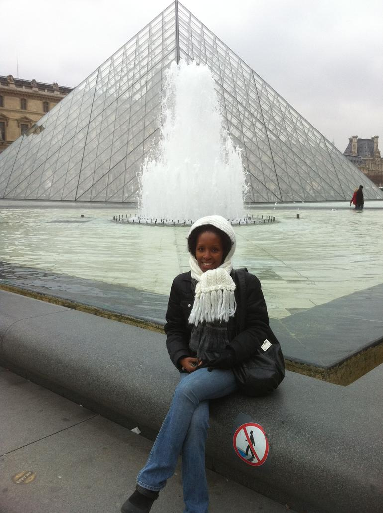 Freezing in front of the Pyramid at the Lourve in Paris! - Paris