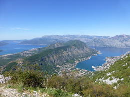 View taken from the top of the mountains looking down to Kotor Bay and Tivat airport , Rachel L - September 2013