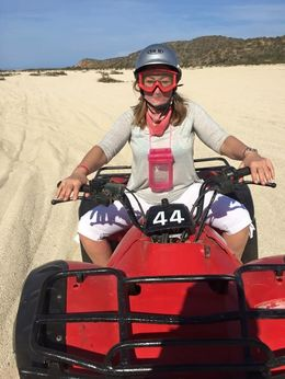 Aynne Malmborg in photo in Los Cabos, Mexico area. Bandana, helmut, and goggles were provided...Machines old and dusty--wear long pants and old shoes! GREAT FUN!!! , Eric H - March 2015