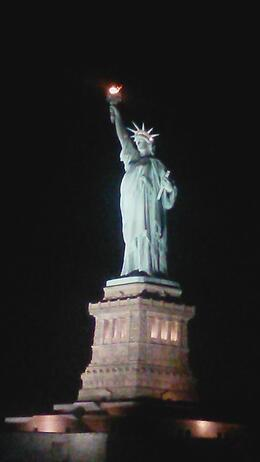 Lit up view of Statue of Liberty from Yacht , jillaharrison - October 2014